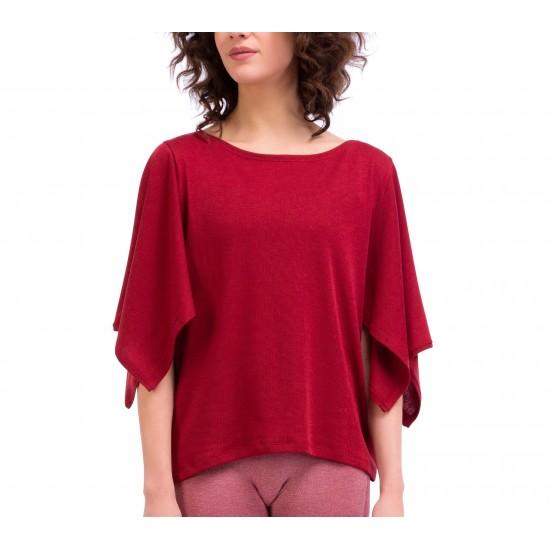 T-shirt kimono en maille côtelée Rouge Karama Repetto