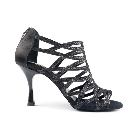 Chaussures PD803 BLACK GLITTER AND SATIN Portdance