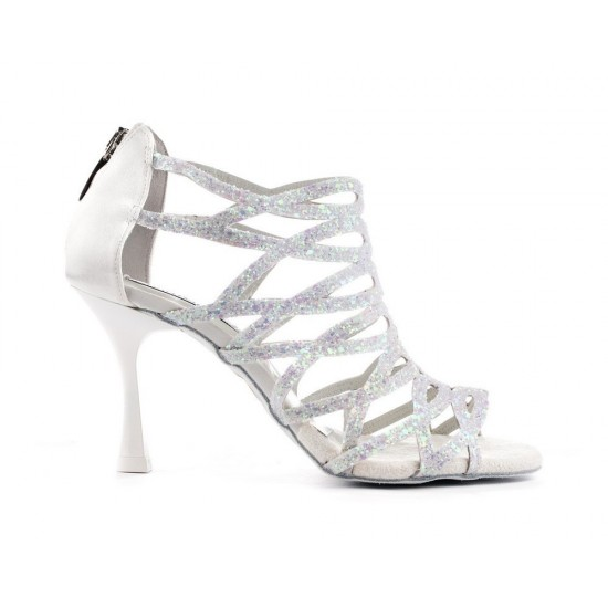 Chaussures PD803 WHITE GLITTER AND SATIN Portdance