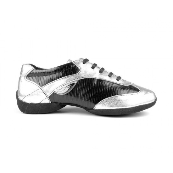 Chaussures Cuir PD06 FASHION SILVER BLACK Portdance